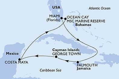 États-Unis, Jamaïque, Îles Caïmans, Mexique avec MSC Croisières