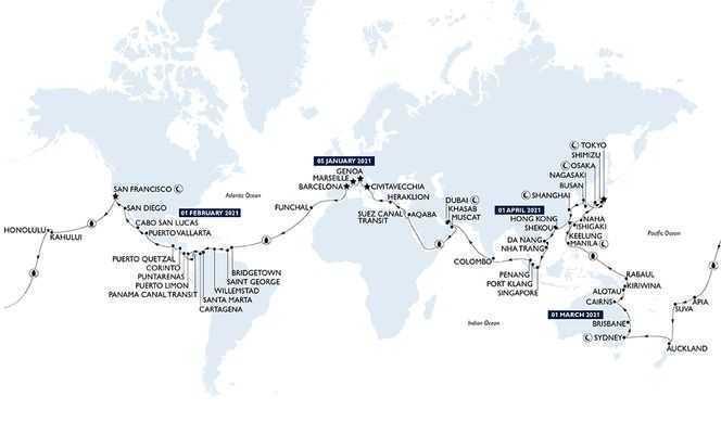 Tour du Monde 2021 au départ de Barcelone avec MSC Croisières