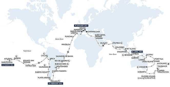 Tour du Monde 2022 au départ de Marseille avec MSC Croisières