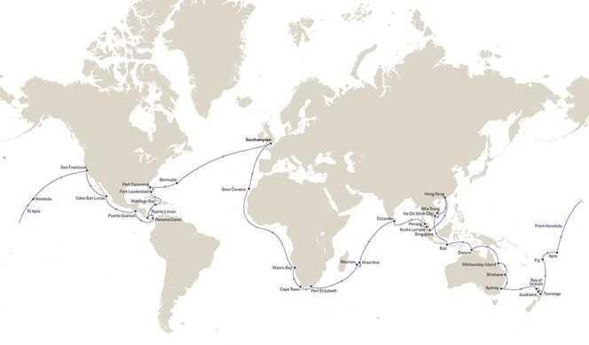 Tour du Monde 2021 au départ de Southampton avec Cunard