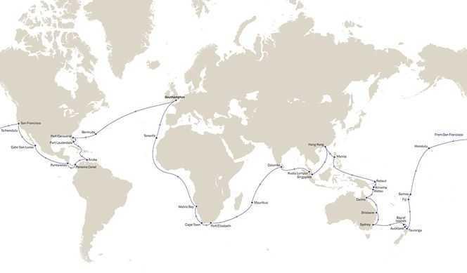 Tour du Monde 2022 au départ de Southampton avec Cunard