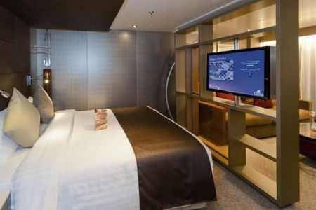 TV satellitaire, mini bar, coffre-fort, sèche-cheveux, téléphone, baignoire, coin salon. Climatisation. Balcon privatif. Environ 43m².