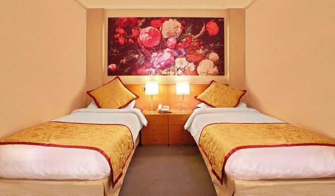 2 lits bas ( la plupart convertibles en 1 grand lit ), salle de bain privée avec douche, téléphone, télévision, coffre fort, mini bar. ( 11-13 m² )