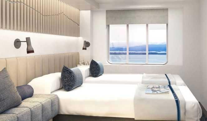 Cabinespouvant accueillir jusqu'à deux personnes,dotées d'un lit double ou d'un espace nuit aménageable, d'une télévision, d'un hublot ou d'un sabord. Elles sont principalement situées sur les ponts intermédiaires ou inférieurs; toutes sont équipées d'une salle de bain avec douche et WC. Certaines cabines disposent de lits superposés.