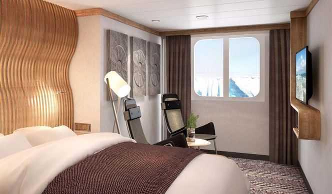 Les cabines Polar Extérieures se trouvent principalement sur les ponts intermédiaires et elles comportent des fenêtres. La plupart sont spacieuses, disposent d'un lit double transformable et d'une télévision et vous offrent un bon confort. Cette catégorie peut accueillir de 2 à 4 passagers.