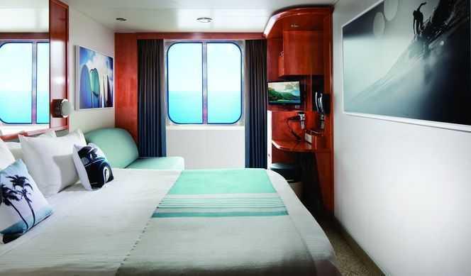 2 lits bas convertibles en grand lit, télévision, réfrigérateur, coffre-fort, salle de bain privée avec douche. Les cabines H à CC disposent d'une vue sur mer et celles de BE à BA disposent d'un balcon privé Superficie : 14 à 19 m²