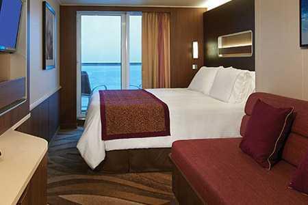 Les Mini Suites sont parfaites pour ceux qui recherchent un peu plus d'espace que la cabine avec balcon standard. Vous profiterez, en plus de l'espace supplémentaire et de la vue imprenable depuis votre balcon, vous apprécierez la proximité des restaurants et des divertissements du bateau.