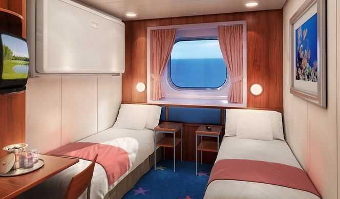 2 lits bas, coin lecture avec lit sofa, salle de bain avec douche, sabord ou hublot, télévision, réfrigérateur, climatisation. ( 15 m² )