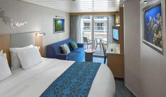 Deux lits jumeaux (convertibles en grand lit double), balcon privé, séjour et salle de bain privée. Ces cabines luxueuses disposent d''un séjour et d''un balcon privé. Autres équipements : sèche-cheveux, télévision, radio, téléphone, minibar et coffre-fort.
