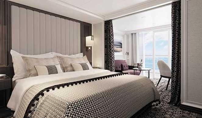 Chacune des 369 suites du navire dispose d'un balcon privé dont la superficie varie de 8 à 89 m2 et d'une vue sur la mer. Les suites de la catégorie Véranda Suite offrent un espace salon, une salle de bain avec douche et un balconde 8m2. Les superficies incluent les balcons.Les installations comprennent :Grand lit double convertible en lits jumeaux,Literie luxueuse et Draps de bain,Coffre-fort,Télévision à écran plat,Room Service 24h/24.