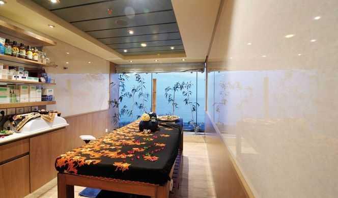 Acupuncture,  Réfléxologie, Solarium,  Massage,  Coach personnel,  Sauna,  Hammam,  Salle de fitness,  piscine de thalasso thérapie,  Salon de beauté,  Coiffeur... Le Spa Aurea est le lieu idéal pour prendre soin de soi et se détendre dans l'un des deux jacuzzis. Une multitude de soins sont dispensés dans le salon de beauté, comme des soins remodelants pour le visage et le corps. Un espace constitué de cabines spécialisées est réservé aux passagers qui désirent profiter de l'un des 19 types de massages, dont le massage balinais et le Schiatsu. Thalassothérapie, solarium, sauna… entre ces différentes activités, il est aussi très agréable de déguster un cocktail de fruits frais au Spa Bar. Une vaste salle de sport pourvue d'équipements professionnels occupe une partie du centre de remise en forme.