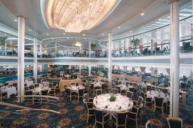 Restaurant principal, Buffet, 11 Restaurants de spécialités (parfois avec suppléments), 7 Bars, Cafétéria, Glacier...