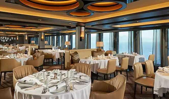 Restaurant principal et jusqu'à 27 options de restauration (parfois avec suppléments), Œnothèque, 10 Bars...