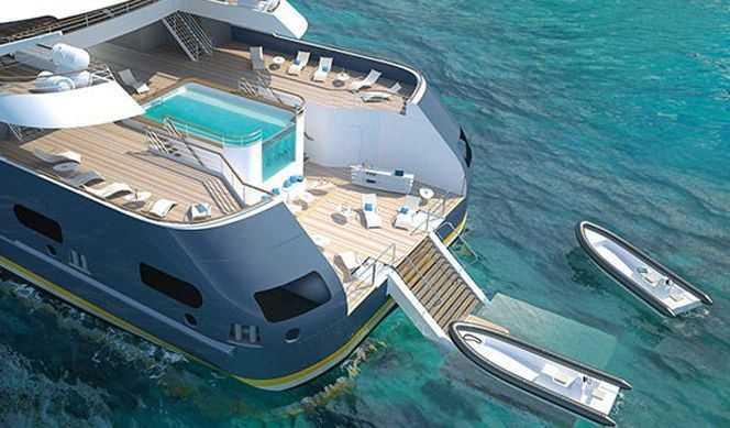 Plateforme hydraulique, Piscine à vision panoramique dotée d'un système de nage à contre-courant, Salle de fitness, Salon sous-marin multi sensoriel Le Blue Eye...